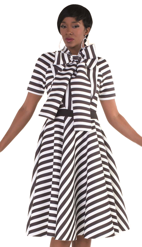Tally Taylor 4613 ( 1pc Woman Sunday Dress in Striped Scuba Fabric W/ Bow Tie on Neckline )