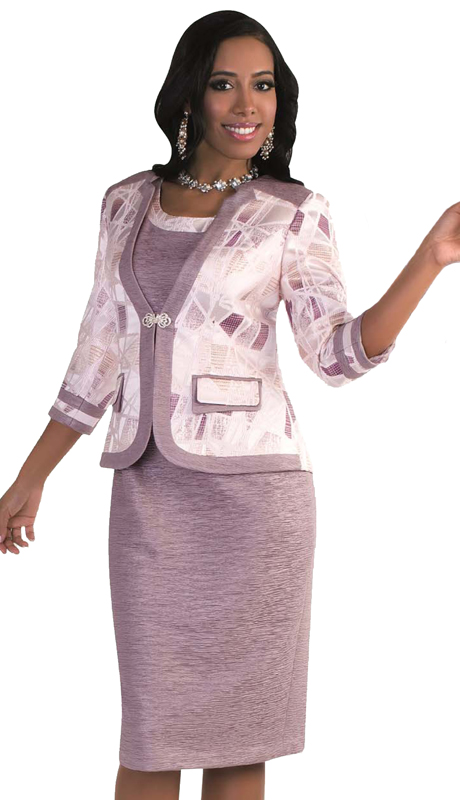 Tally Taylor 4568-Purple Ash-SA ( 1pc Church Dress Suit With Double Layer Pocket And Rhinestone Buckle )