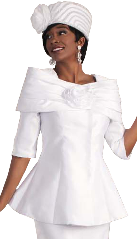 Tally Taylor 4584-W ( 1pc Women Sunday Church Suit With Off Shoulder Effect & Rose Flower Detail )