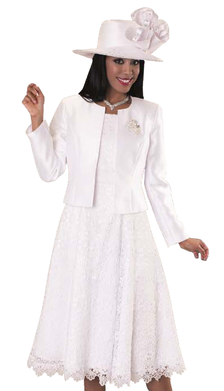 Tally Taylor 4529-W ( 2p Women Sunday Dress Suit With Detachable Rhinestone Brooch Graceful Pleated lace Silk look Jacket)
