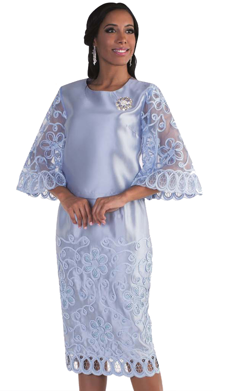 Tally Taylor 4609-BB ( 2pc Church Suit With Detachable Rhinestone Brooch And Embroidered Sleeves matching Skirt )