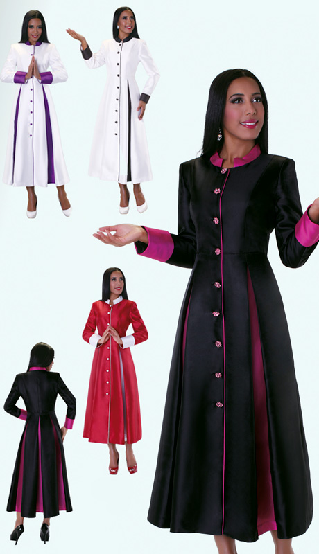 Tally Taylor 4544 ( 1pc Silk Look Womens Cassock Robe For Church With Rhinestone Buttons And Two Tone Pleats  )