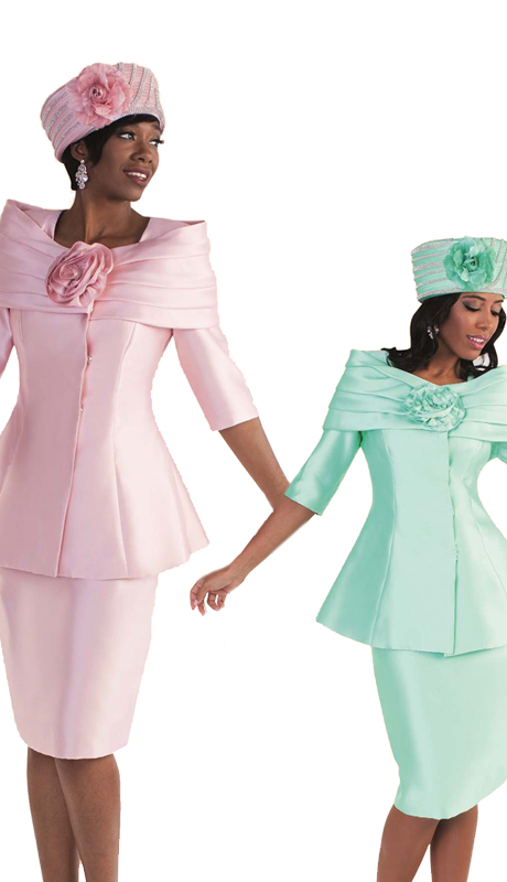 Tally Taylor 4584- ( 1pc Women Sunday Church Suit With Off Shoulder Effect & Rose Flower Detail )