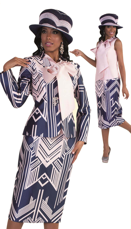Tally Taylor 4580-NP ( 3pc Exclusive First Lady Church Suit In Two Tone Geometric Pattern With Bow-Tie Shirt )