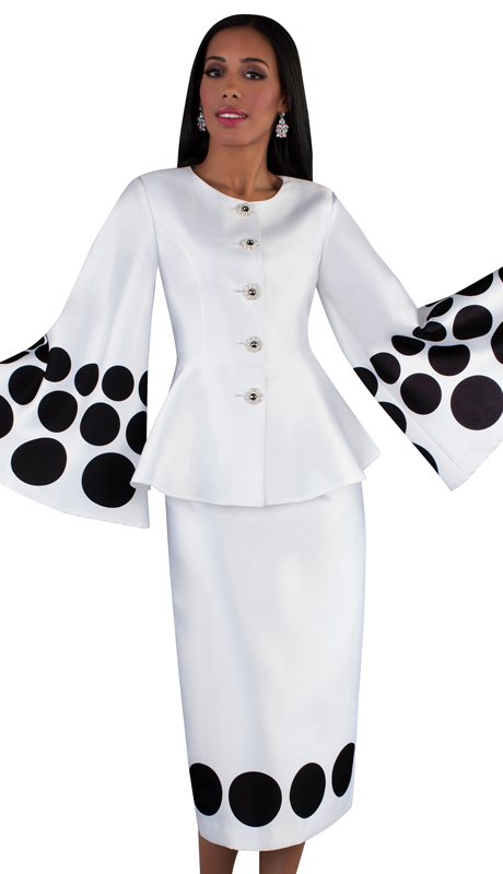Tally Taylor 4683-WB ( 2pc Silk Ladies Suit With Long Straight Skirt, Collarless Jacket And Bell Sleeves )