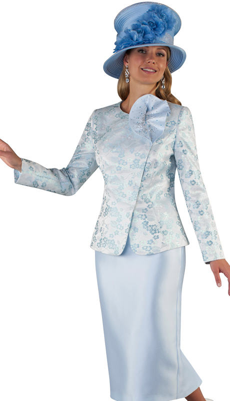 Tally Taylor 4665-IB ( 2pc Silk Ladies Skirt Suit For Church With Floral Brocade And Large Flower Trim On Jacket )