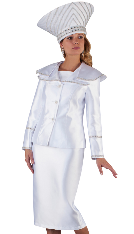 Tally Taylor 4663-WH ( 2pc Silk Ladies Skirt Suit For Church With Flouncy Wrap Around Collar And Metallic Trim )