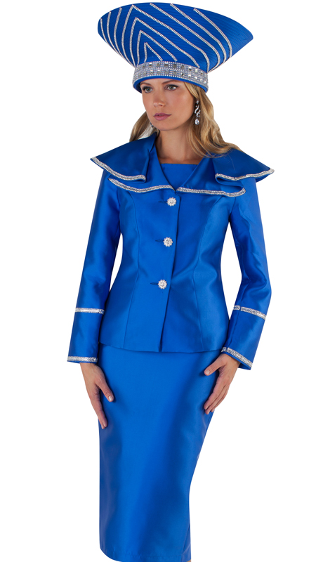 Tally Taylor 4663-RW ( 2pc Silk Ladies Skirt Suit For Church With Flouncy Wrap Around Collar And Metallic Trim )