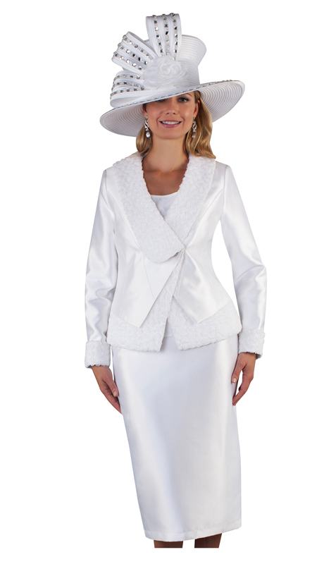 Tally Taylor 4662-DR ( 3pc Silk Ladies Skirt Suit For Church With Cami And Chiffon Flower Detail On Jacket )