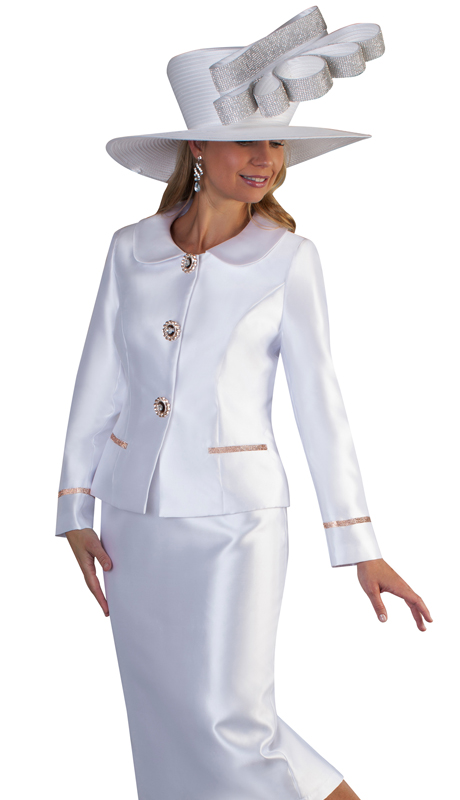Tally Taylor 4660-WH ( 2pc Silk Ladies Skirt Suit For Church With Rounded Lapels, Rhinestone Button And Detail On Jacket )