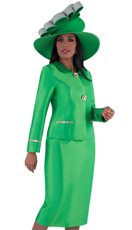Tally Taylor 4660-EM ( 2pc Silk Ladies Skirt Suit For Church With Rounded Lapels, Rhinestone Button And Detail On Jacket )