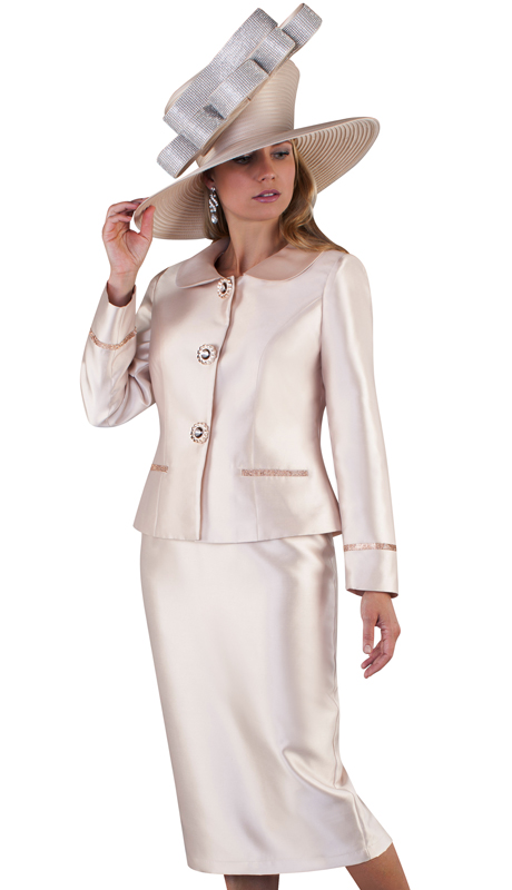 Tally Taylor 4660-CH ( 2pc Silk Ladies Skirt Suit For Church With Rounded Lapels, Rhinestone Button And Detail On Jacket )