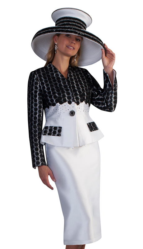 Tally Taylor 4682-BW ( 2pc Silk Ladies Church Skirt Suit With Collarless Lace Jacket And Slit Cuffs )