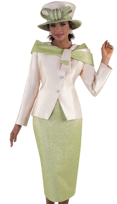 Tally Taylor 4658-LC  ( 2pc Silk Ladies Skirt Suit For Church With Wrap Around Shawl Collar )