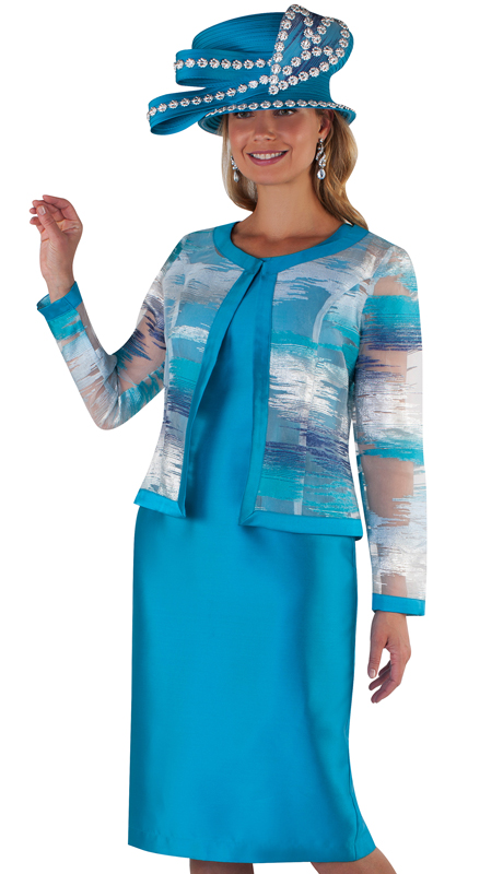 Tally Taylor 4657-TU ( 2pc Silk Ladies Dress For Church With Collarless Organza Print Jacket )