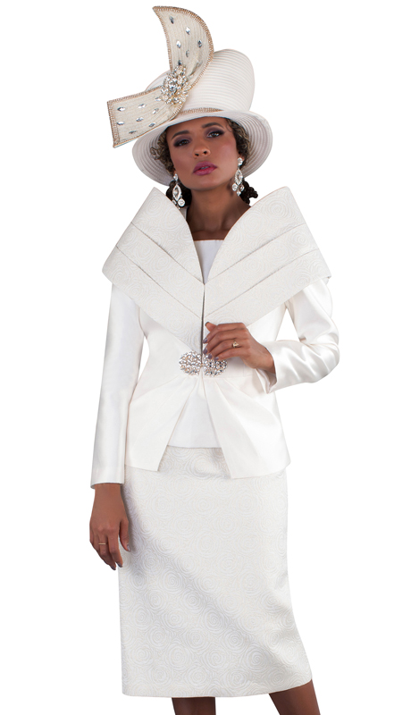Tally Taylor 4656-CG ( 3pc Silk Ladies Skirt Suit For Church, Off Shoulder Effect With Rhinestone Button Jacket )