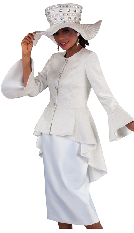 Tally Taylor 4655-CR ( 2pc Silk Ladies Skirt Suit For Church With A Brocade High-Low Jacket And Jeweled Buttons )