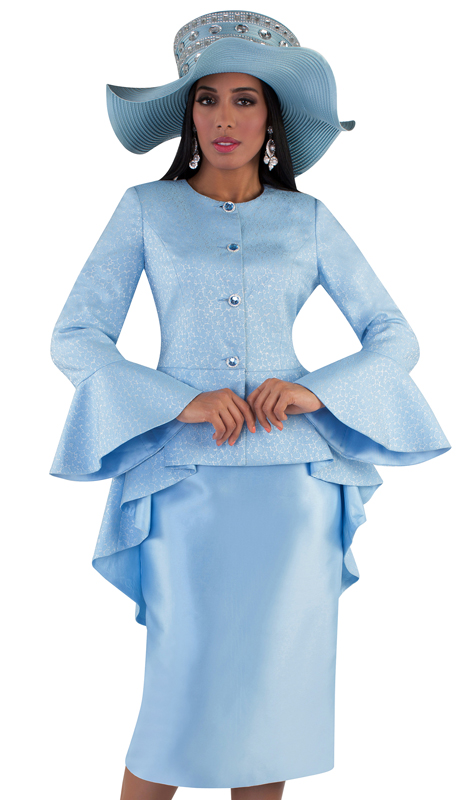 Tally Taylor 4655-BB ( 2pc Silk Ladies Skirt Suit For Church With A Brocade High-Low Jacket And Jeweled Buttons )