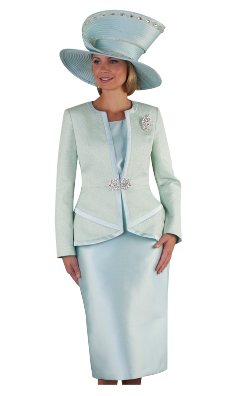 Tally Taylor 4654-LM ( 3pc Silk Ladies Skirt Suit For Church With Collarless Jacket And Jeweled Brooch )