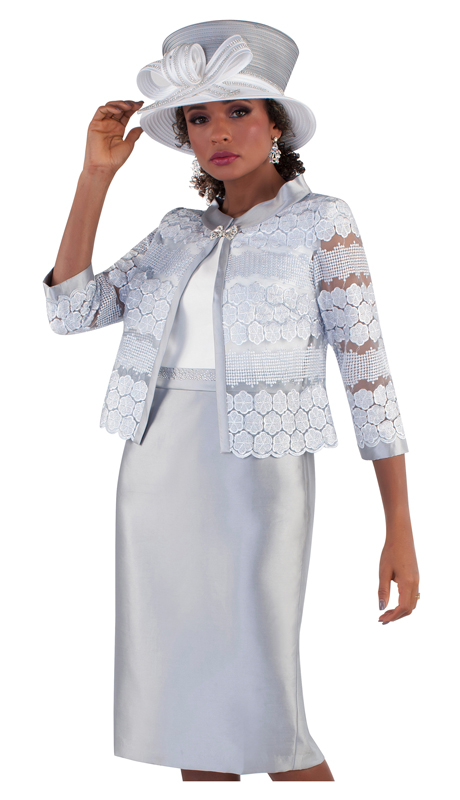 Tally Taylor 4653-SW ( 2pc Silk Ladies Dress For Church With Organza Lace Jacket )