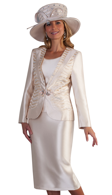 Tally Taylor 4681-CH ( 3pc Silk Ladies Skirt Suit For Church With Cami And Rhinestone Detail On Jacket  )