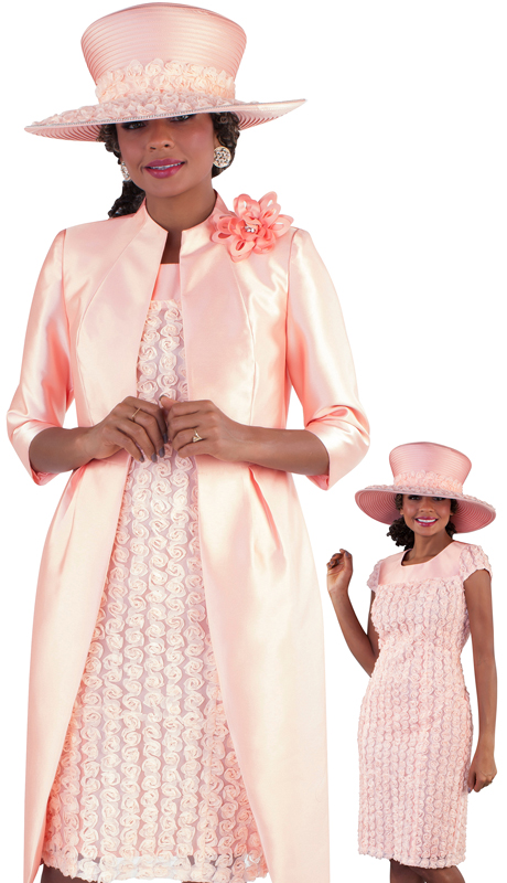 Tally Taylor 4652-PE ( 2pc Silk Ladies Dress Suit For Church With Chiffon Flower Pattern And Brooch )