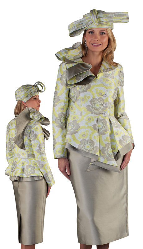 Tally Taylor 4650-LM ( 2pc Brocade Ladies Skirt Suit For Church With Asymmetric Ruffled Collar )