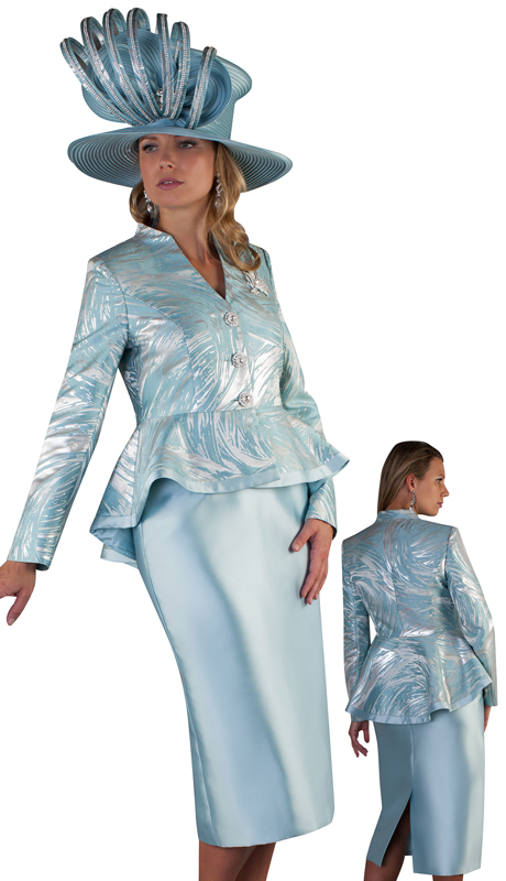 Tally Taylor 4649-SS ( 2pc Silk Ladies Church Skirt Suit With Brocade Jacket And Jeweled Button Brooch )