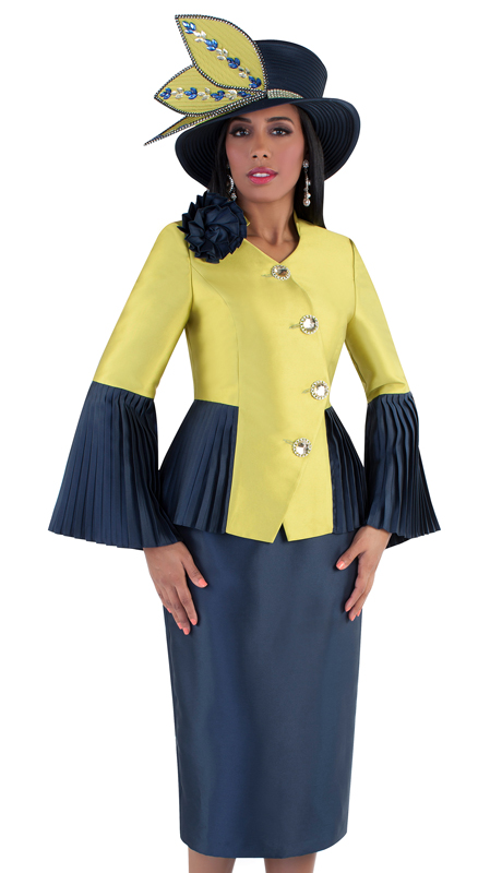 Tally Taylor 4640-NAG ( 2pc Ladies Church Skirt Suit With Flower Brooch And Pleated Detail on Jacket )