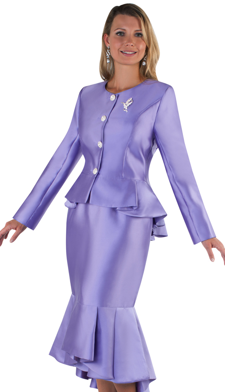 Tally Taylor 4579-PU ( 2pc Silk Ladies Church Suit, Flounce Hem Skirt With Rhinestone Buttons And Brooch )