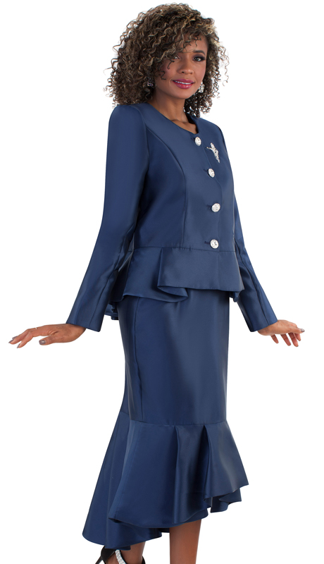 Tally Taylor 4579-NA ( 2pc Silk Ladies Church Suit, Flounce Hem Skirt With Rhinestone Buttons And Brooch )