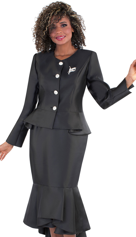 Tally Taylor 4579-BK ( 2pc Silk Ladies Church Suit, Flounce Hem Skirt With Rhinestone Buttons And Brooch )