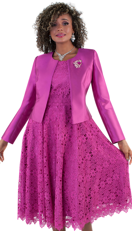 Tally Taylor 4529-FU-IM ( 2p Women Sunday Dress Suit With Detachable Rhinestone Brooch Graceful Pleated Lace Silk look Jacket)
