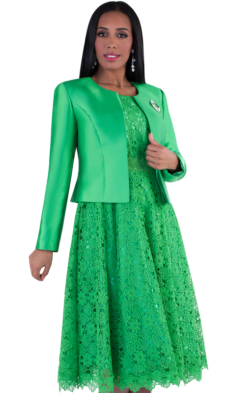 Tally Taylor 4529-EM-IM ( 2pc Women Sunday Dress Suit With Detachable Rhinestone Brooch Graceful Pleated lace Silk look Jacket)
