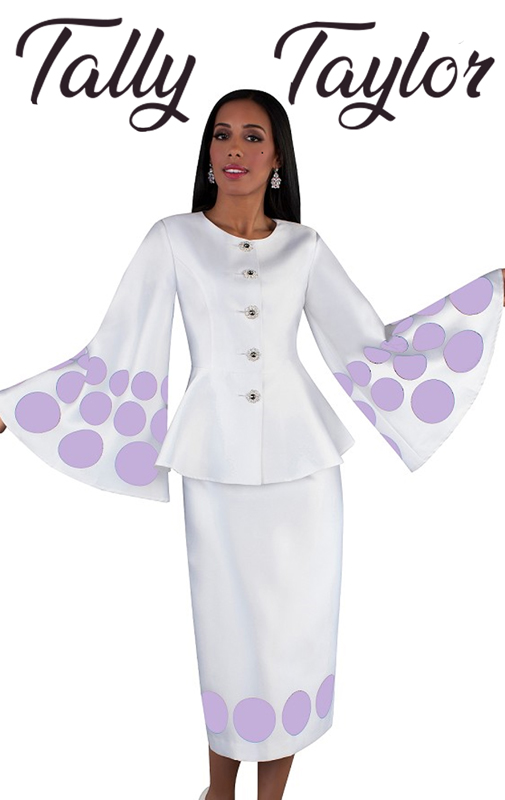 Tally Taylor 4683-WL ( 2pc Silk Ladies Suit With Long Straight Skirt, Collarless Jacket And Bell Sleeves )