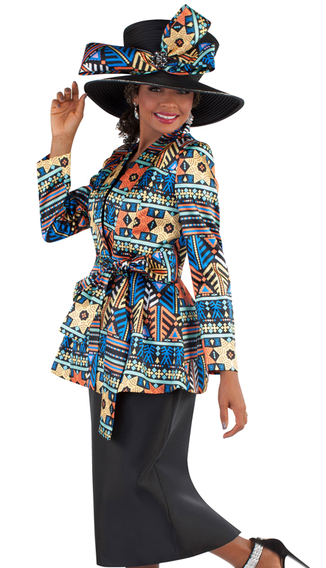 Tally Taylor 4680-AP ( 3pc Silk Novelty Ladies Skirt Suit For Church With Wrap Around Waist Belted Jacket )