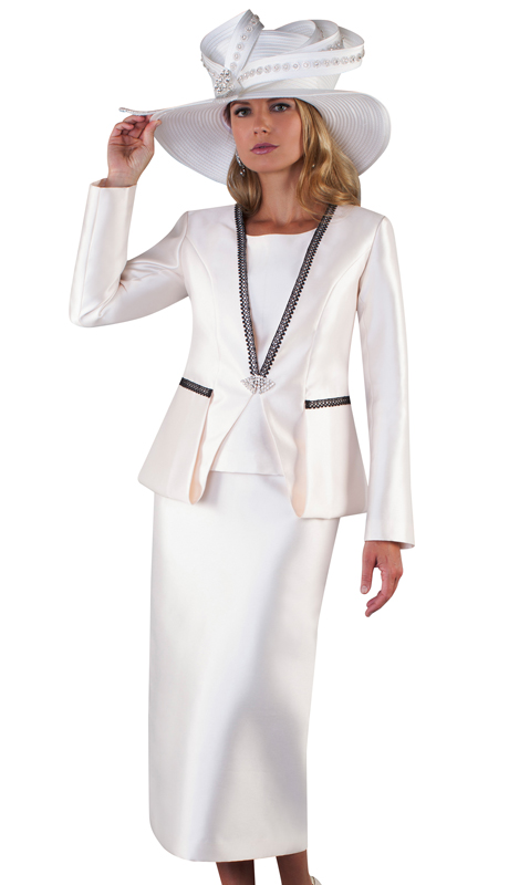 Tally Taylor 4667-IV ( 3pc Silk Ladies Skirt Suit For Church With Strip Lace Detail On Jacket And Jeweled Closure )
