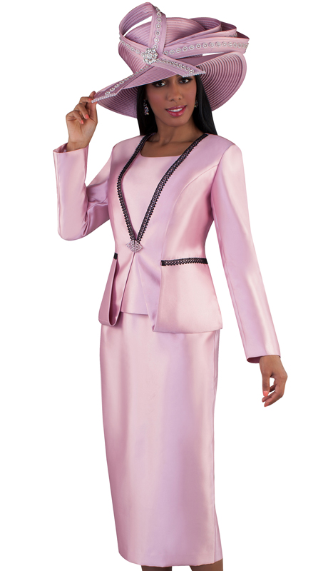 Tally Taylor 4667-DR ( 3pc Silk Ladies Skirt Suit For Church With Strip Lace Detail On Jacket And Jeweled Closure )