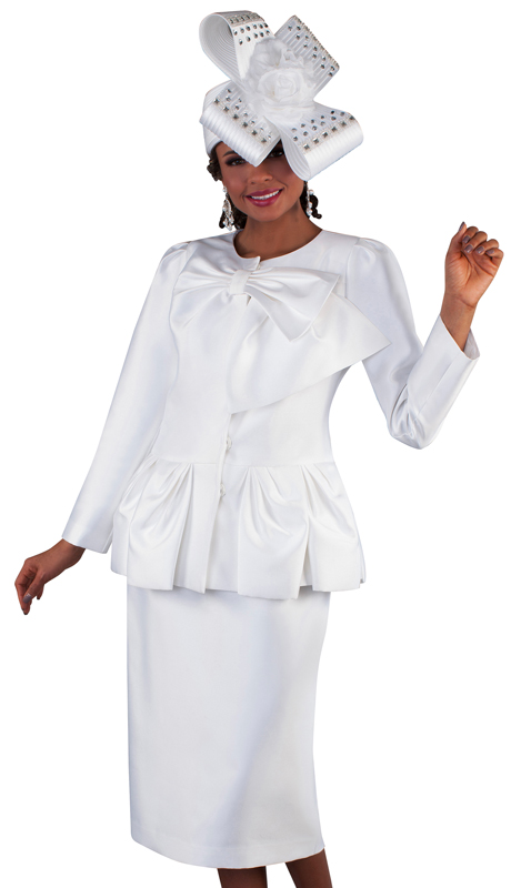 Tally Taylor 4666-WH ( 2pc Silk Ladies Skirt Suit For Church With Soft Bow Detail Collar And Ruffle Effect Peplum Jacket )