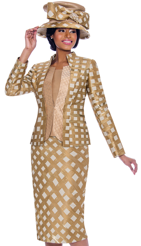 Terramina 7797-GO ( 3pc Novelty Womens Skirt Suit With Lattice Pattern Design )