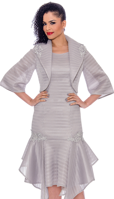 Terramina 7791-SI ( 2pc  Novelty Drop Waist Dress With Handkerchief Flounce Hem And Bolereo Jacket )