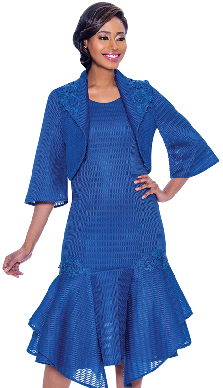 Terramina 7791-NA ( 2pc  Novelty Drop Waist Dress With Handkerchief Flounce Hem And Bolereo Jacket )