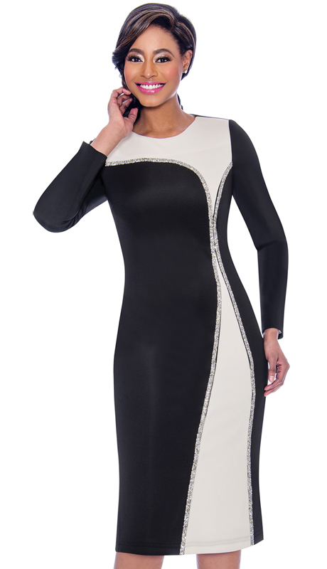 Terramina 7789-BW ( 1pc Scuba Knit First Lady Dress )