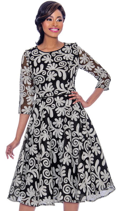 Terramina 7787-WS ( 1pc Novelty Three Quarter Sleeve Pleated Dress With Sequined Pattern )