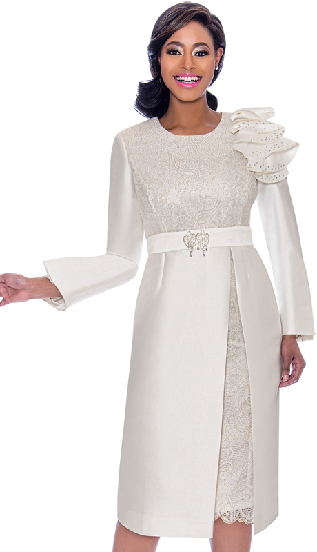 Terramina 7771-PL ( 1pc Silk Look With Brocade Ruffle Adorned Ladies Church Dress With Lace Insets And Bodice )