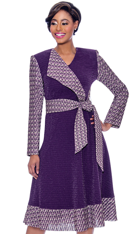Terramina 7796-PU ( 1pc Novelty Mock Wrap Dress With Solid And Pattern Design )