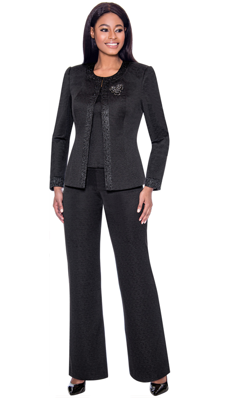 Terramina 7728-BK ( 2pc Knit Womens Pant Suit With Brooch )