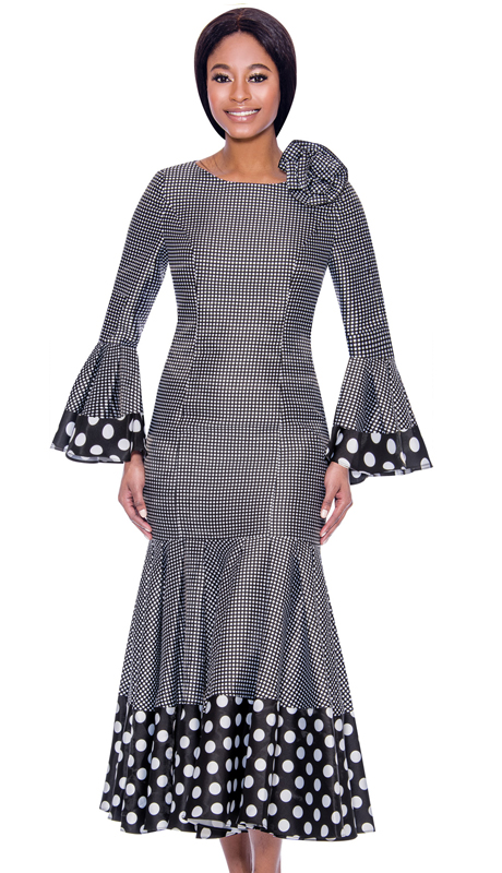 Terramina 7724-BW ( 1pc Novelty Pleated Drop Waist Dress With Polka Dot Trims And Bell Cuffs )