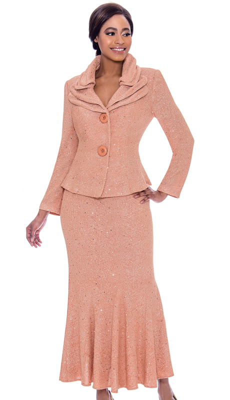 Terramina 7723-SA-CO ( 2pc Knit Embellished Flared Skirt Suit With Layered Collar And Two Button Jacket )