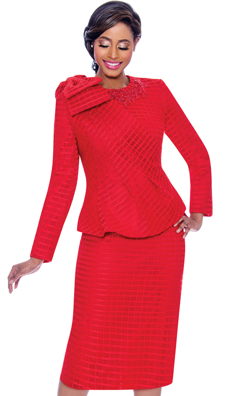 Terramina 7714-RD-CO ( 2pc Lace Grid Pattern Dress And Jacket Set With Cape )